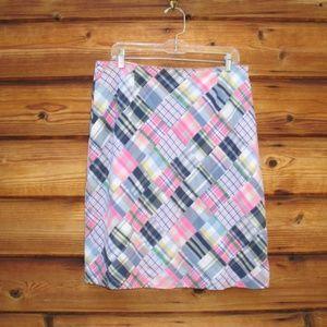 Brooks Brothers Madras Patchwork A Line Skirt